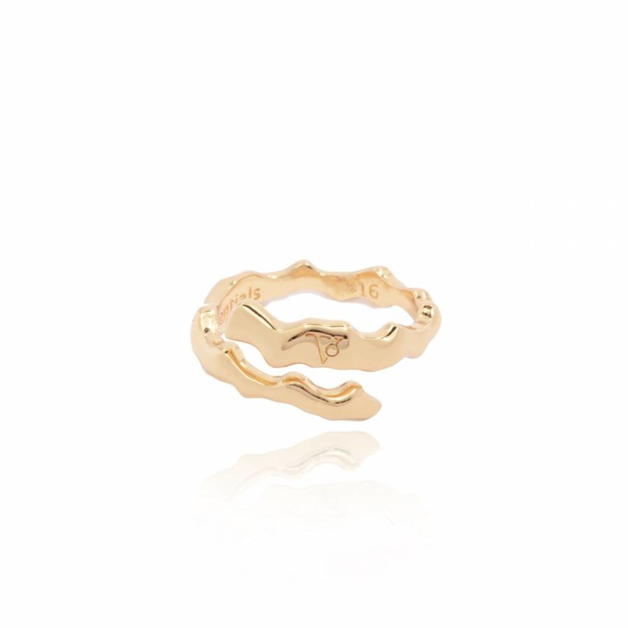 Oak twig - ring - gold