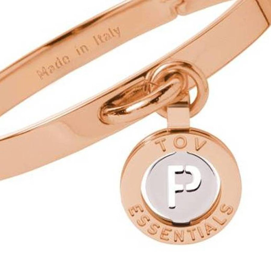 Iniziali bangle (Armband) 2.0 - Rose/Wit Goud - Letter P