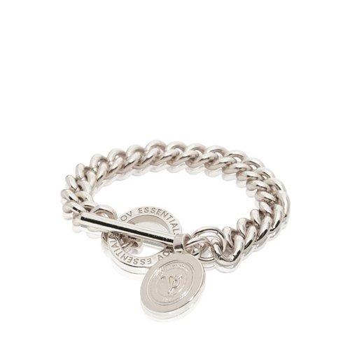 Mini Medaillon Solochain - Armband - Wit Goud