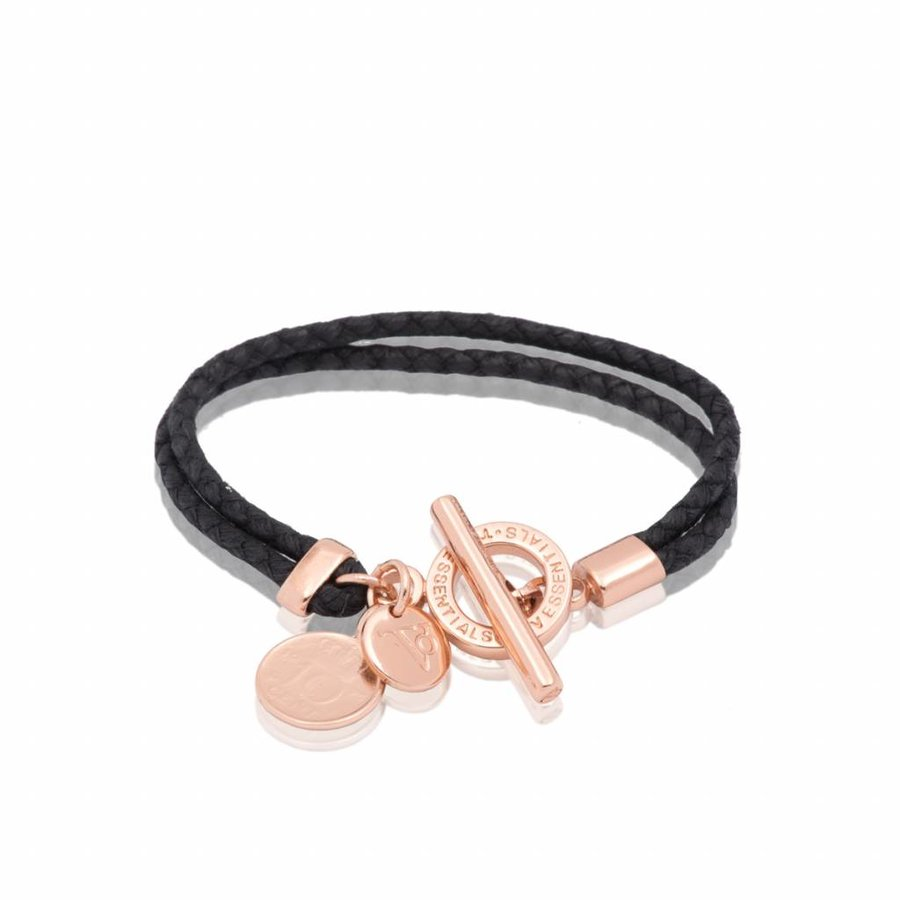 Lucky leather  - Rose/ Black - Armband