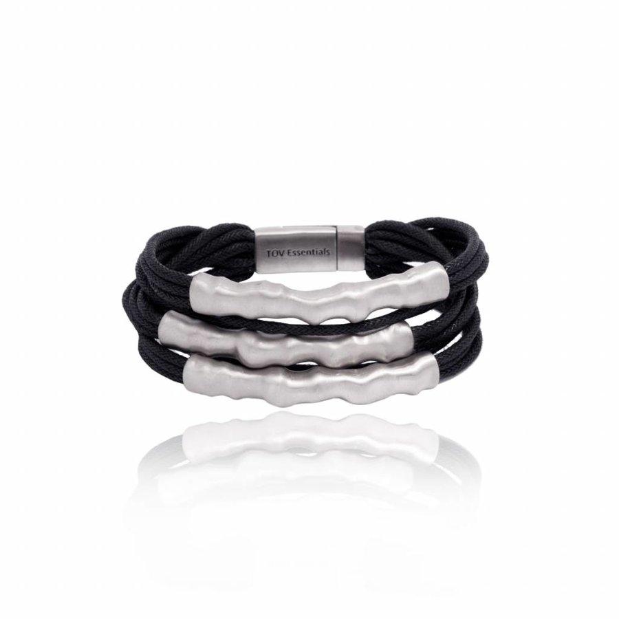 Oak twig bracelet - Silver plated/ Black