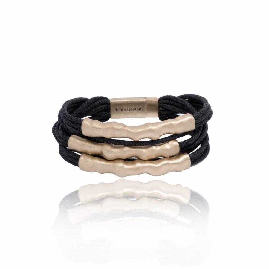 Oak twig bracelet - Light brass/ Black