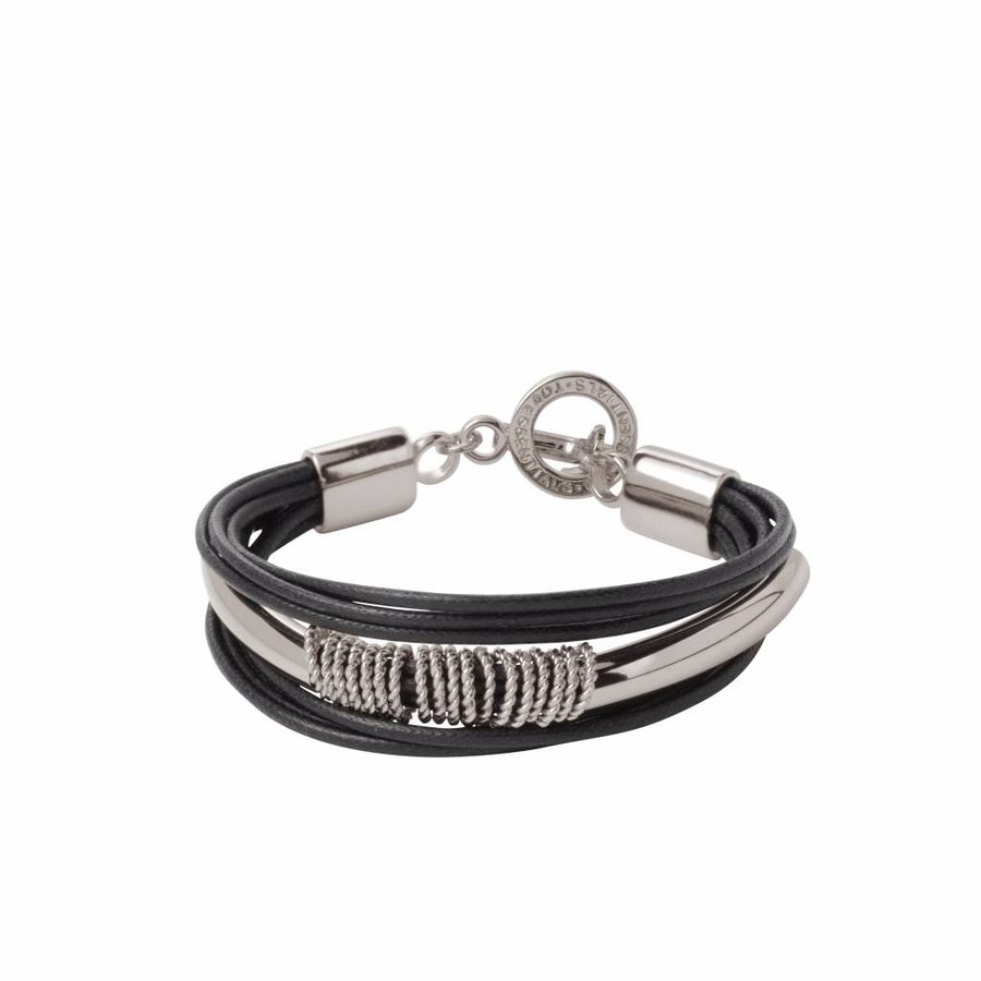 Multi ring  Cord - Armband - Silver/ Black