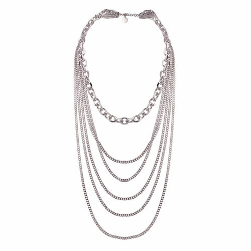 Multi chain layer ketting - Wit goud