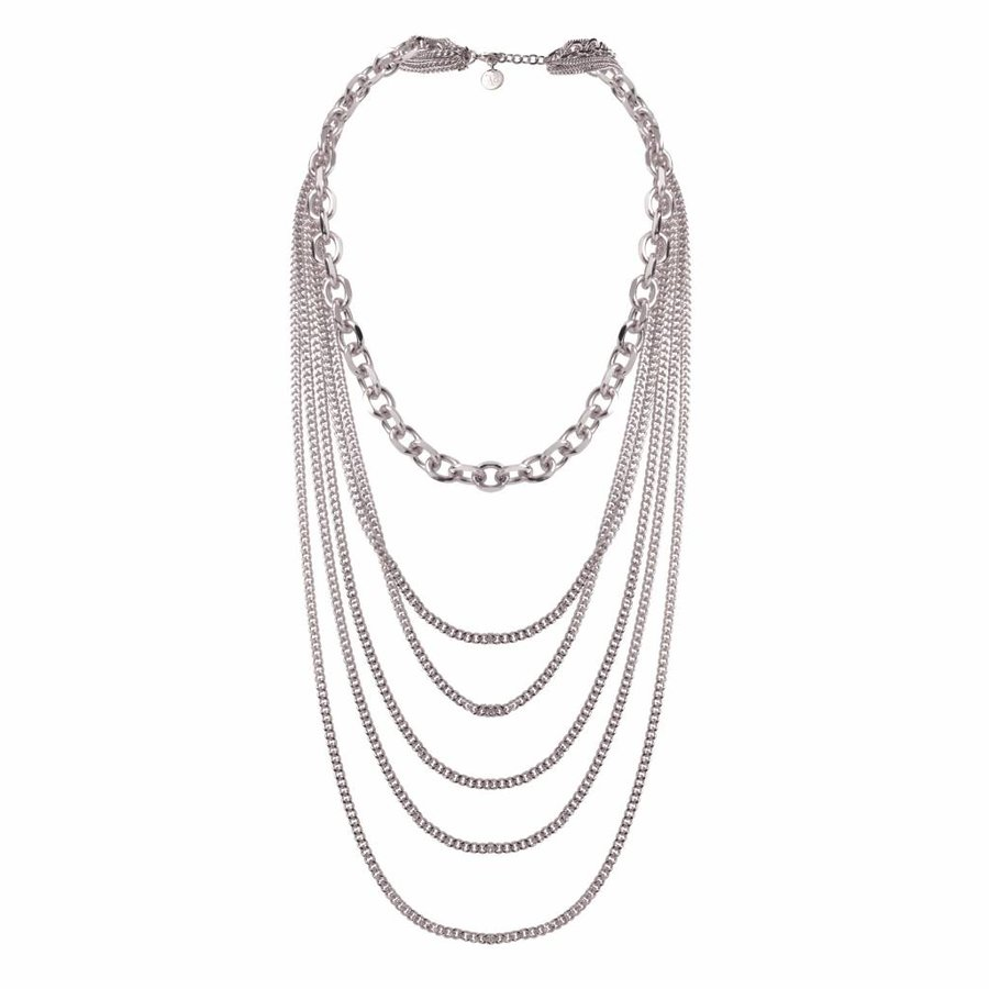 Multi chain layer necklace - White gold