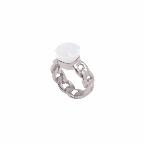 Braided chain stone ring - White gold/ Crystal