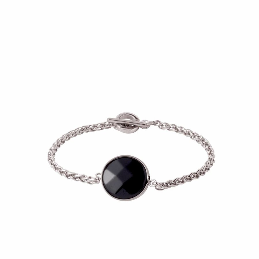 Mystic ini mini spiga bracelet - White gold/ Onyx