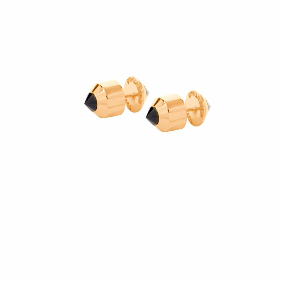 Double pyramid oorbellen - Goud/ Onyx
