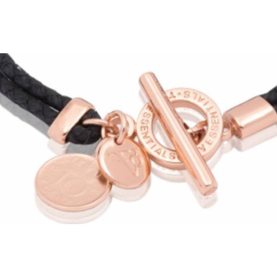 Lucky leather bracelet - Rose/ Black