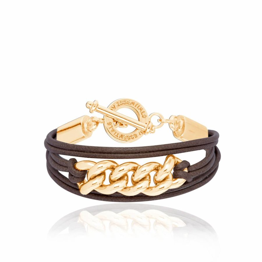 Lots of cords chain bracelets - Gold/ Dark brown