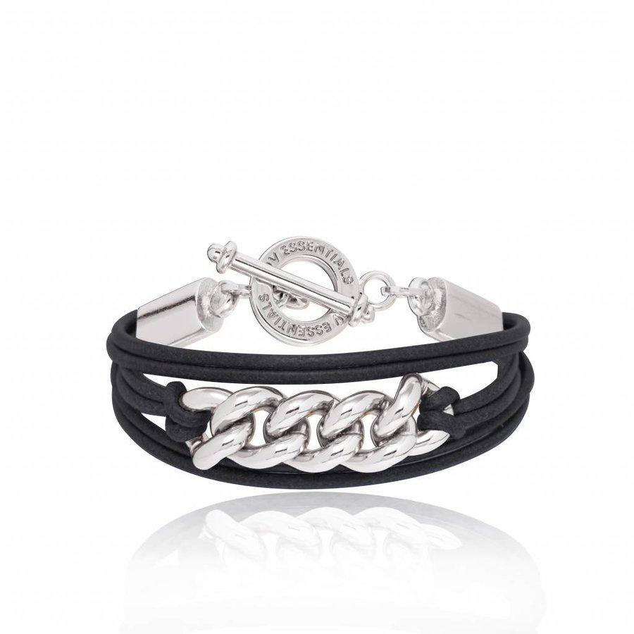 Lots of cords chain bracelets - Silver/ Black
