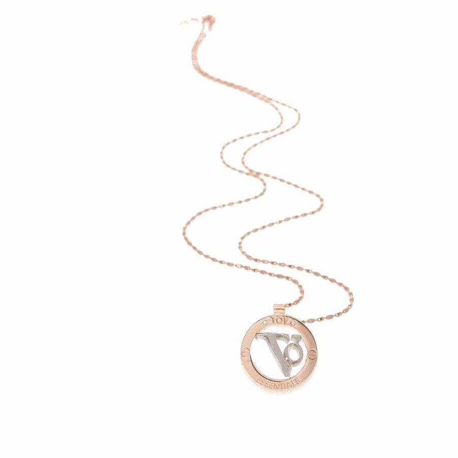 TOV medallion 85 cm necklace - Rose/ Silver