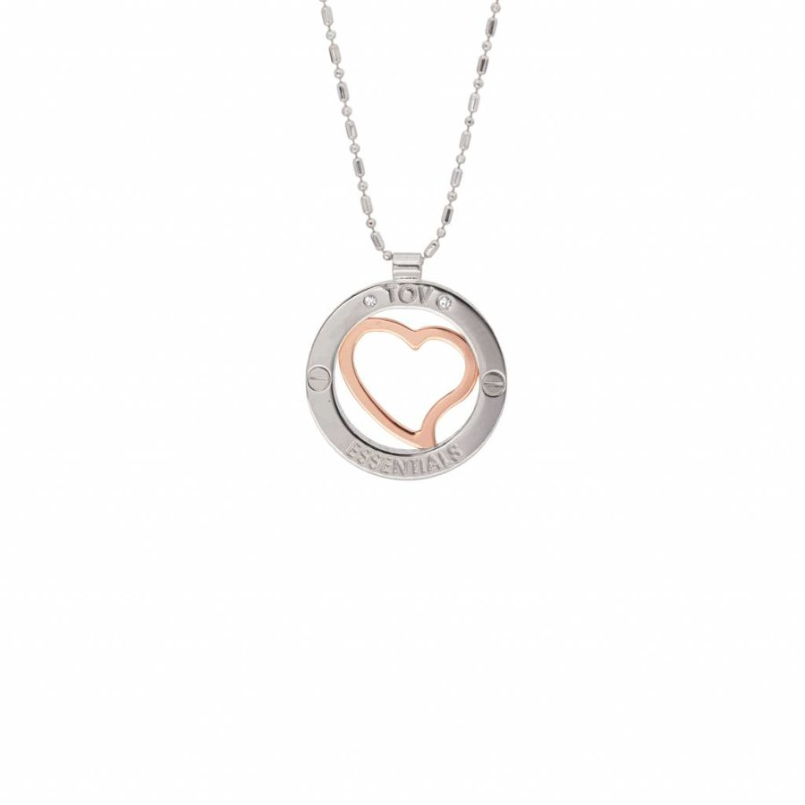 Heart bi colour medaillon - Rose/ White gold