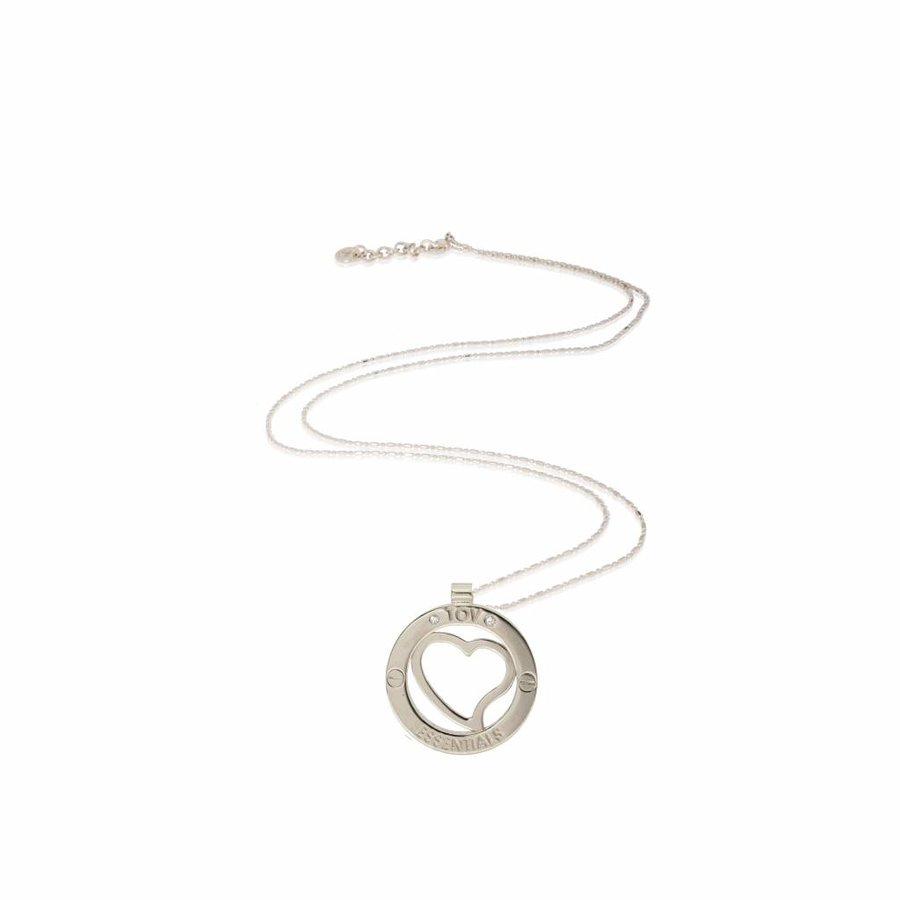 Medaillon 85cm ketting - Wit goud/ Hart