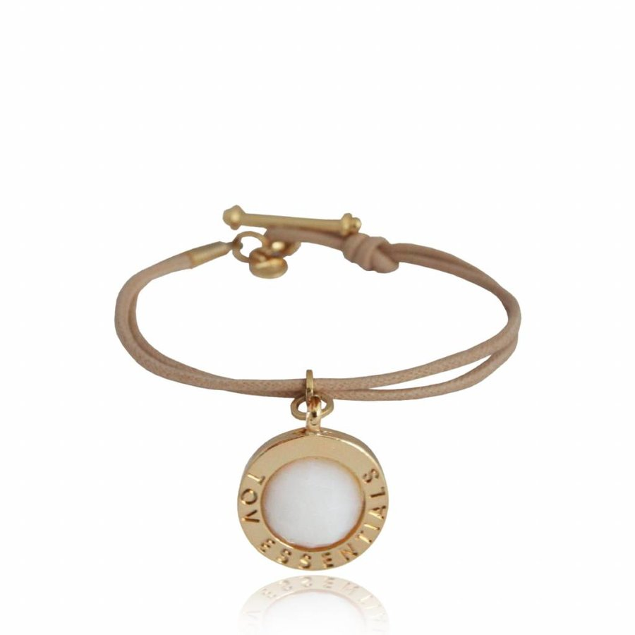 Gemstone pendant - bracelet - gold/ white quartz