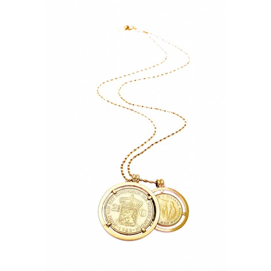 Double big coins necklace - Light gold