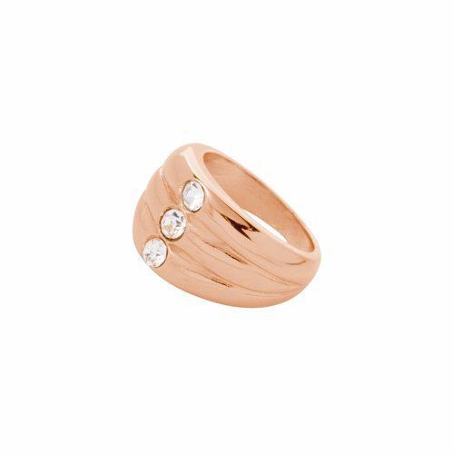Layered stone ring - Rose/ Crystal