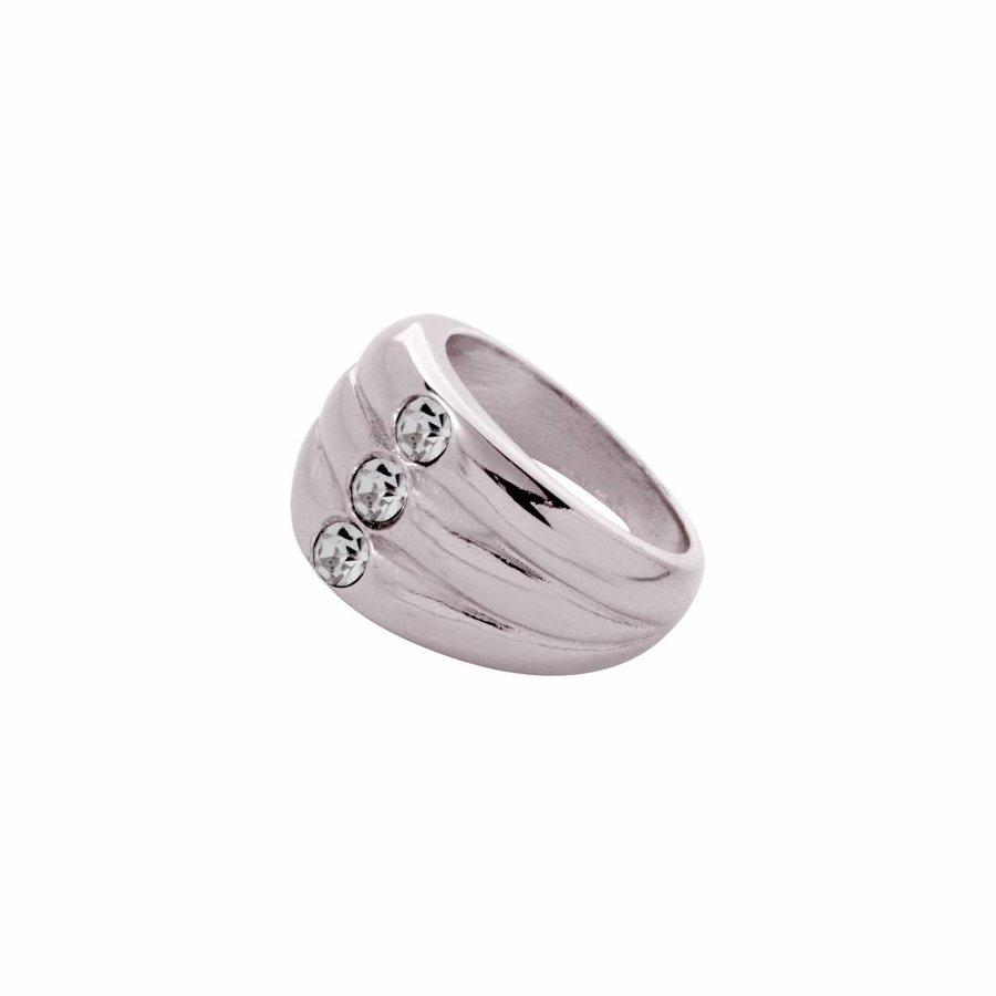 Layered stone ring - White hold/ Back diamond
