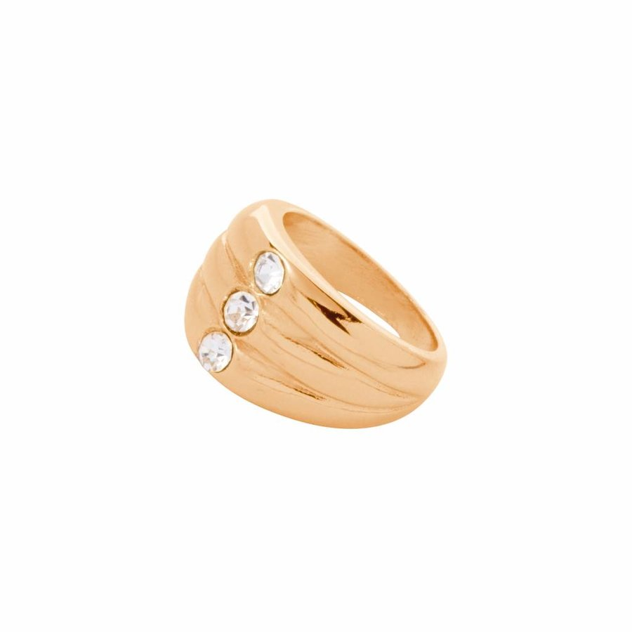 Layered stone ring - Goud/ Crystal