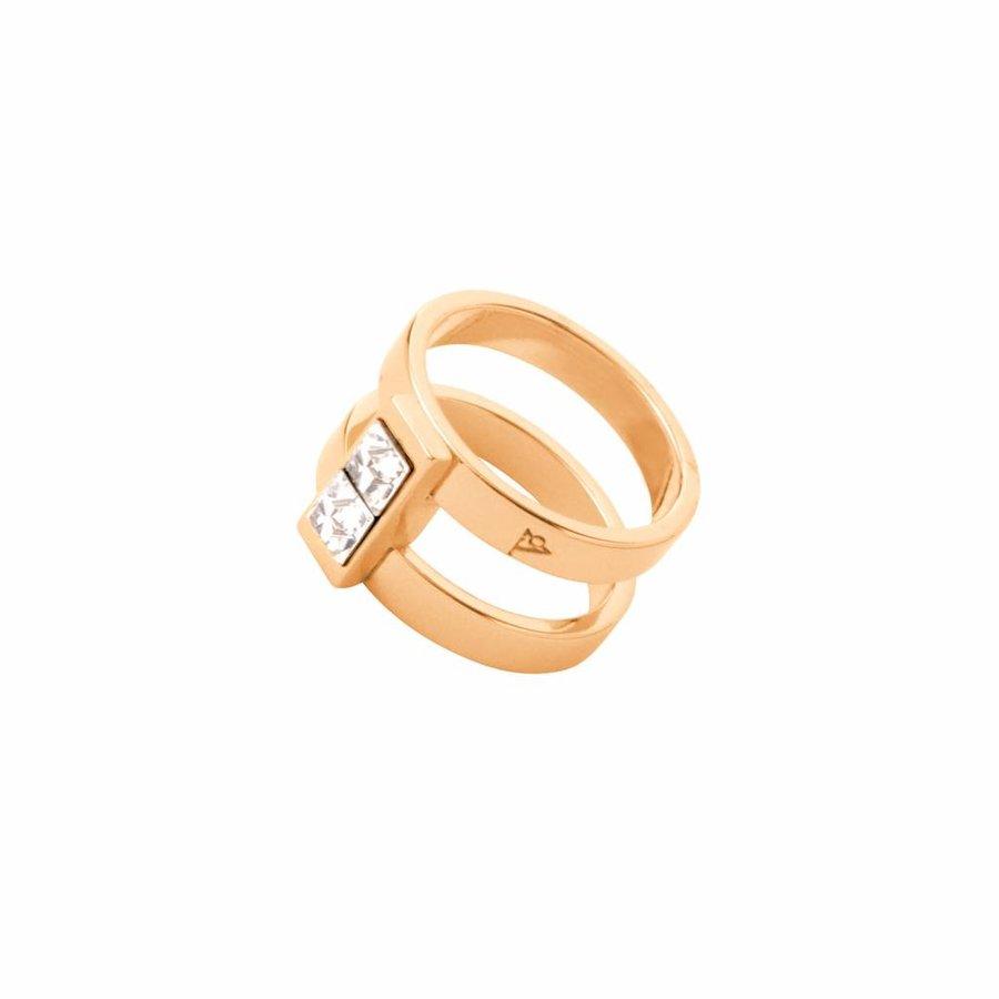 Phoenix multi ring - Goud/ Crystal