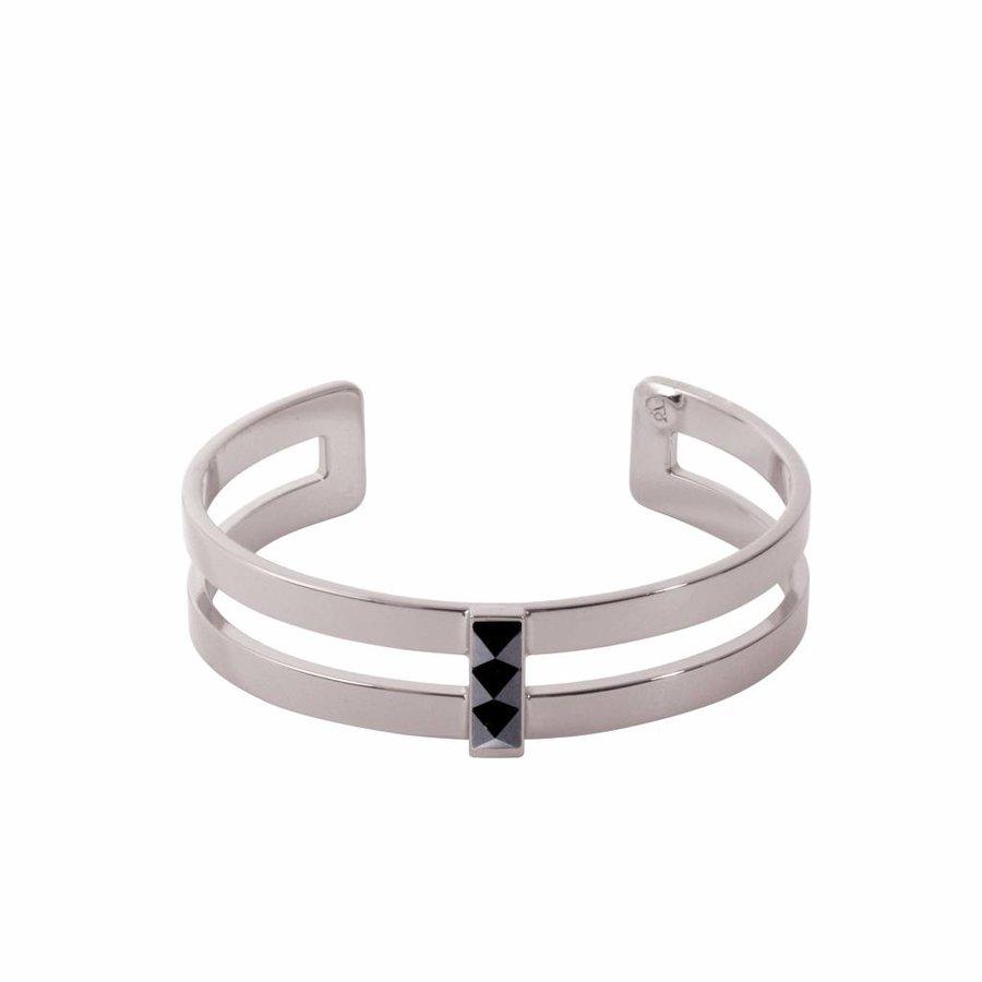 Phoenix multi cuff  (Armband) - Wit goud/ Jet metallic