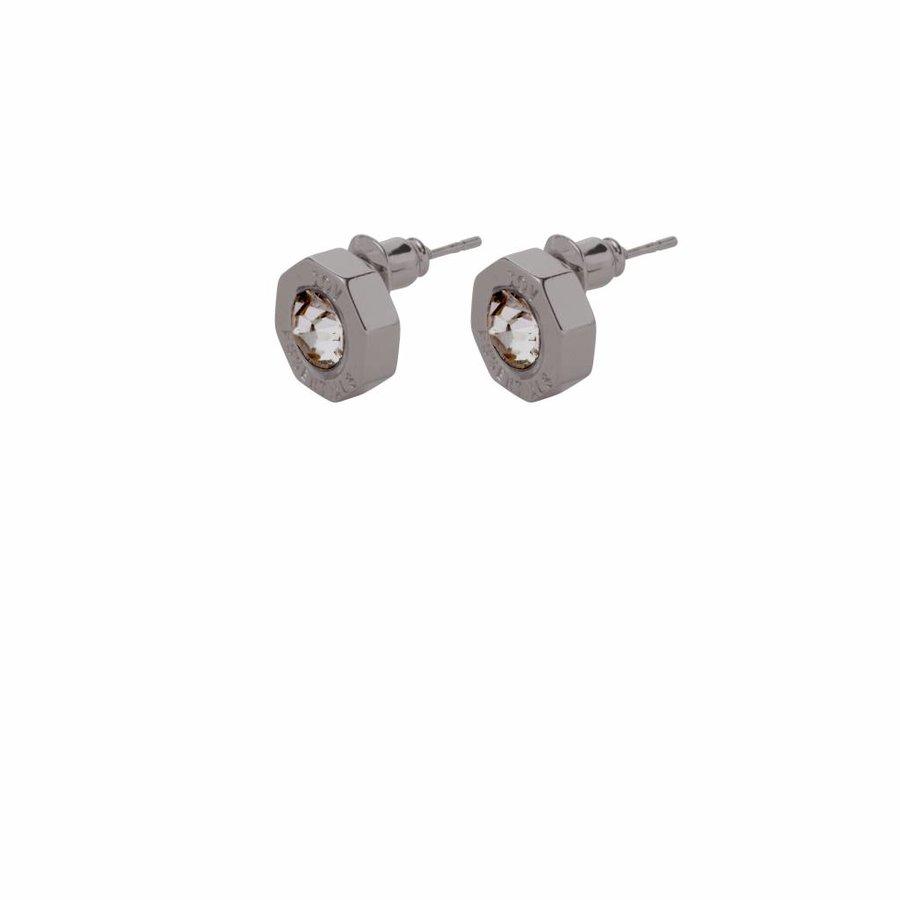 Phoenix stud earring - Gun metal/ Black diamont