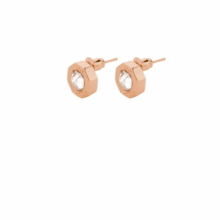 Phoenix stud earring - Rose/ Crystal