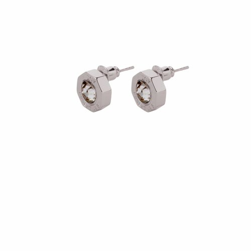 Phoenix stud earring - White gold/ black diamont