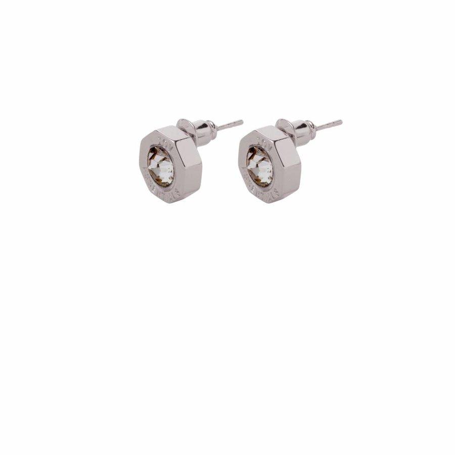 Phoenix stud earring - White gold/ black diamont