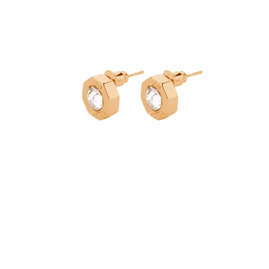 Phoenix stud earring - Gold Crystal