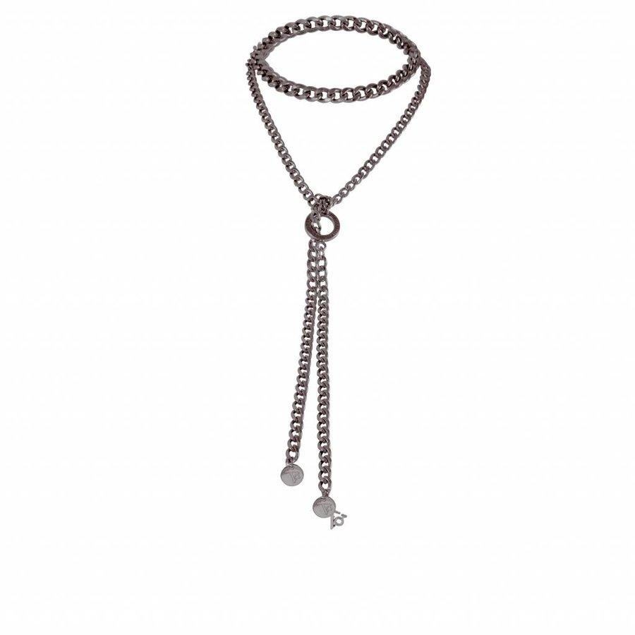 Flat chain choker and string - Gun metal