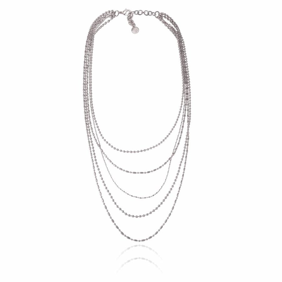 Ball chain layer necklace - Silver