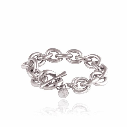 Small oval gourmet bracelet - White gold