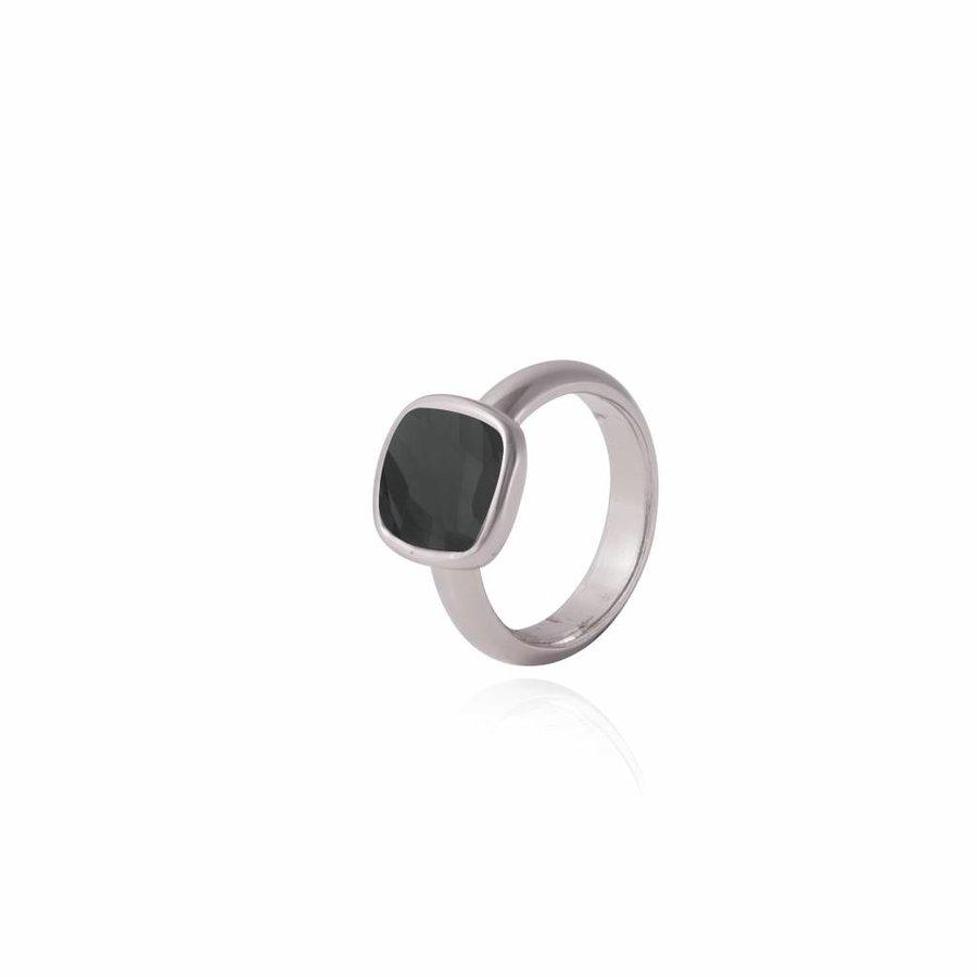 Quartz ring - Zilver/ Onyx