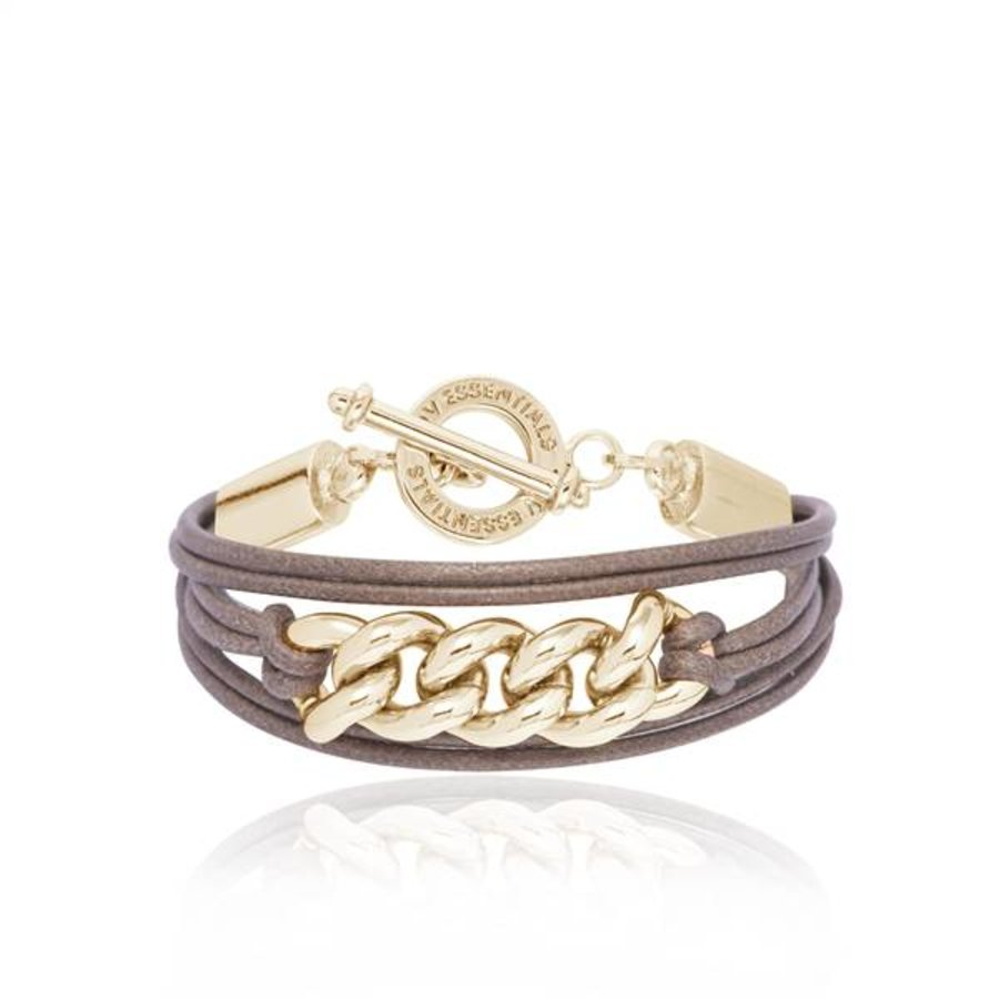 Lots of cords chain bracelets - Light gold/ Taupe