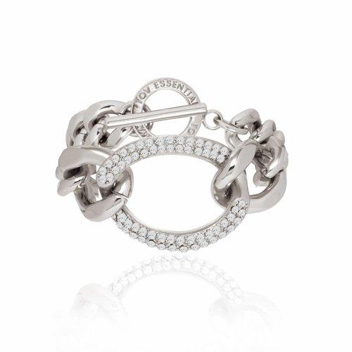 Starry light flat chain bracelet - Silver/ Black diamond