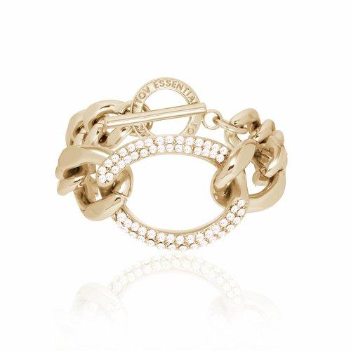 Starry light flat chain bracelet - Light gold/ Crystal