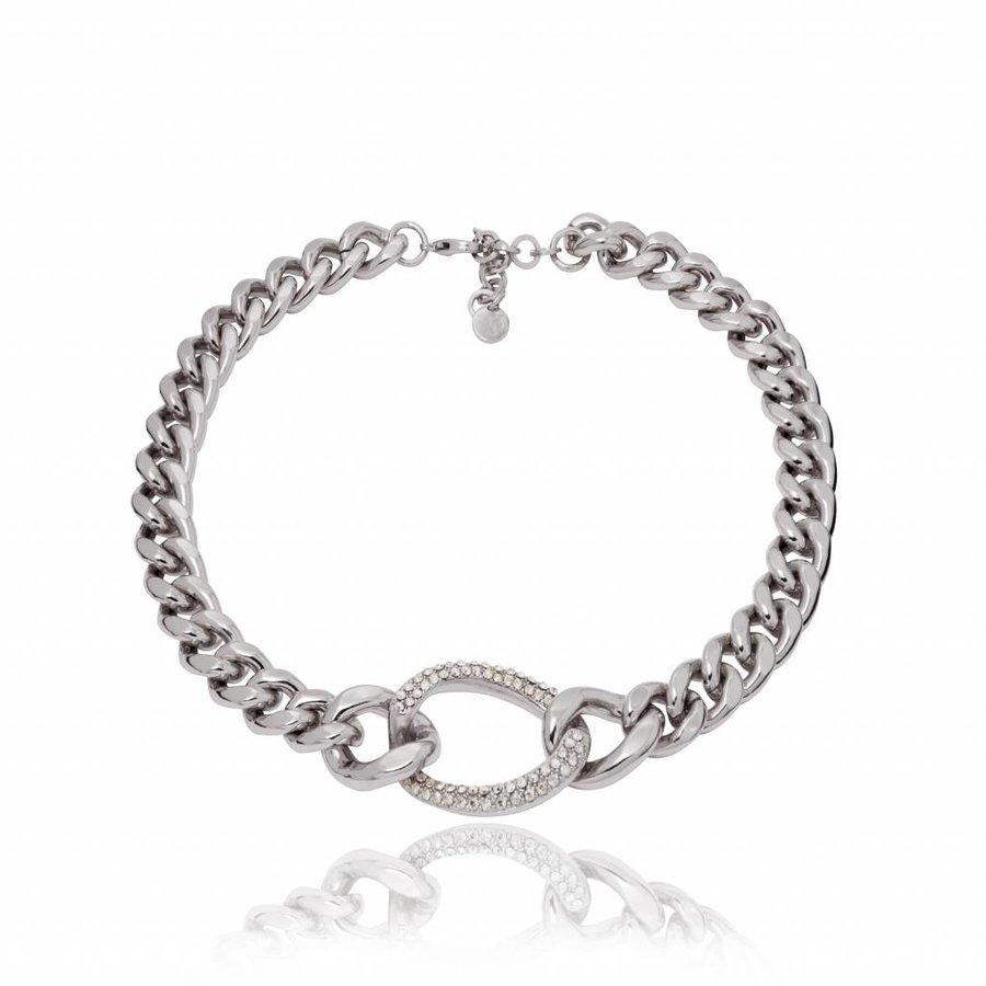 Starry light flat chain ketting - Zilver/ Zwart diamond
