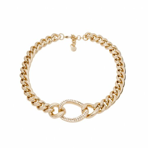 Starry light flat chain collier - Light gold/ Crystal