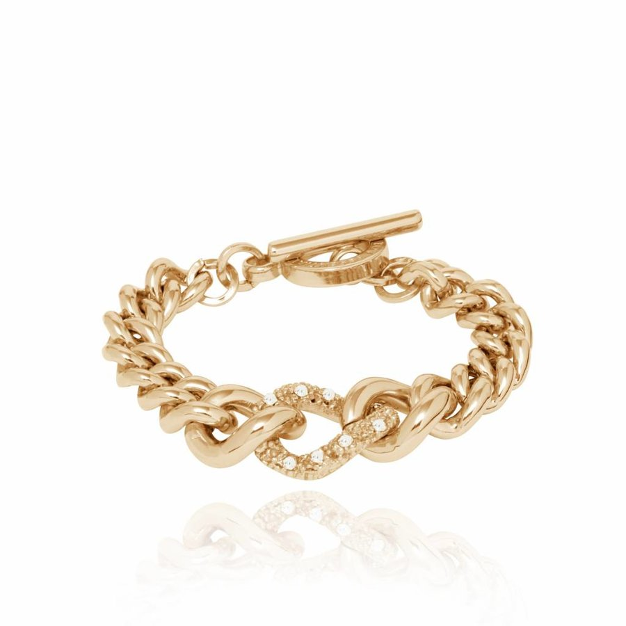 Diamond in the rought armband - Champagne goud/ Crystal