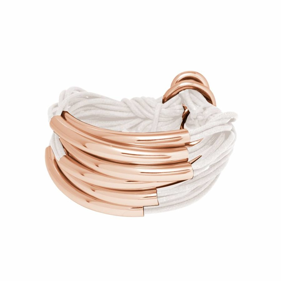 Big Lots of cord tube armband - Rose/ Wit