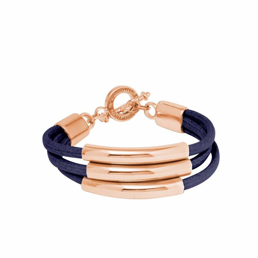 Three cord tube bracelet - Rose/ Navy
