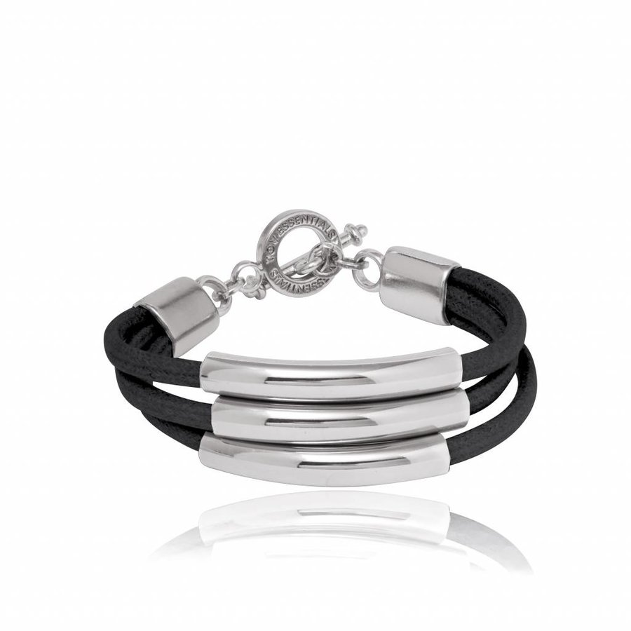 Three cord tube armband - Zilver/ Zwart
