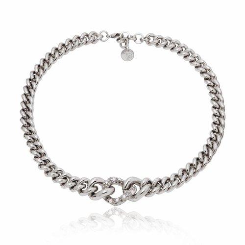 Diamond in the rough collier - silver / black diamond
