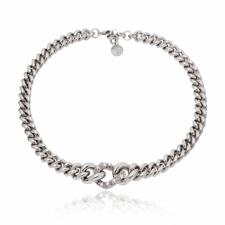 Diamond in the rough ketting - Zilver/ Zwart diamond