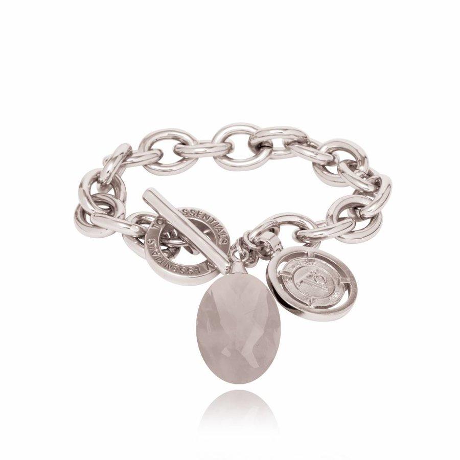 Pure stone round armband - Zilver/ Grijs quartz