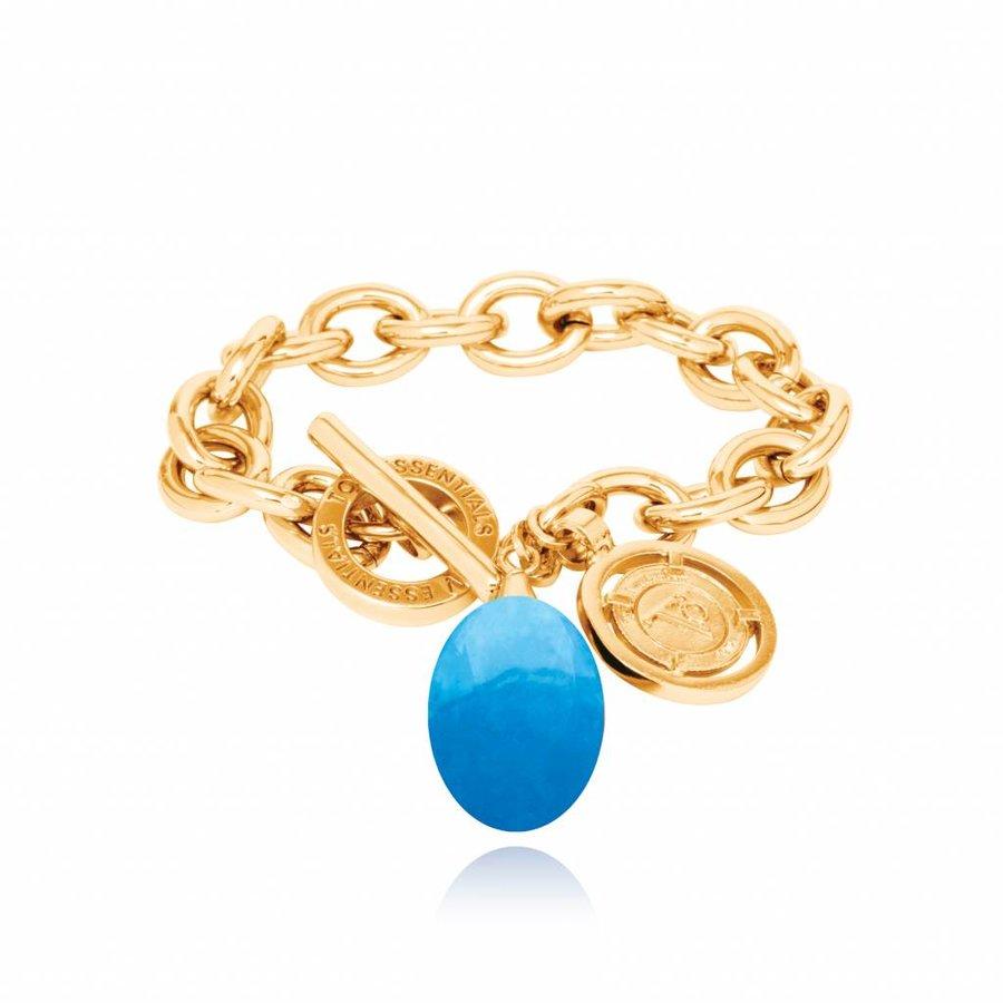 Pure stone round bracelet - Gold Caribbean blue