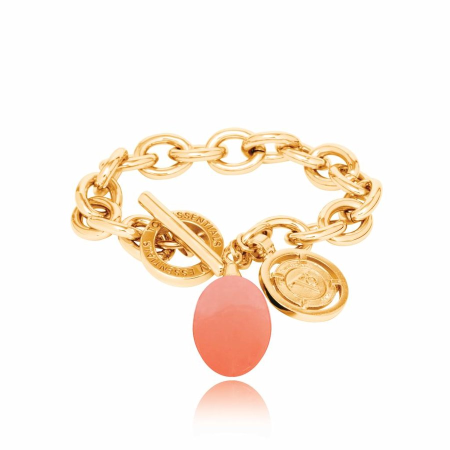 Pure stone round armband - Goud/ Coral