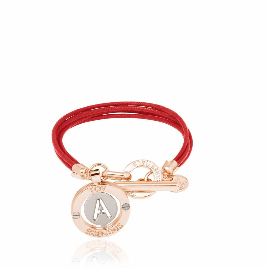 Cord bracelet with setting - Rose/ Red