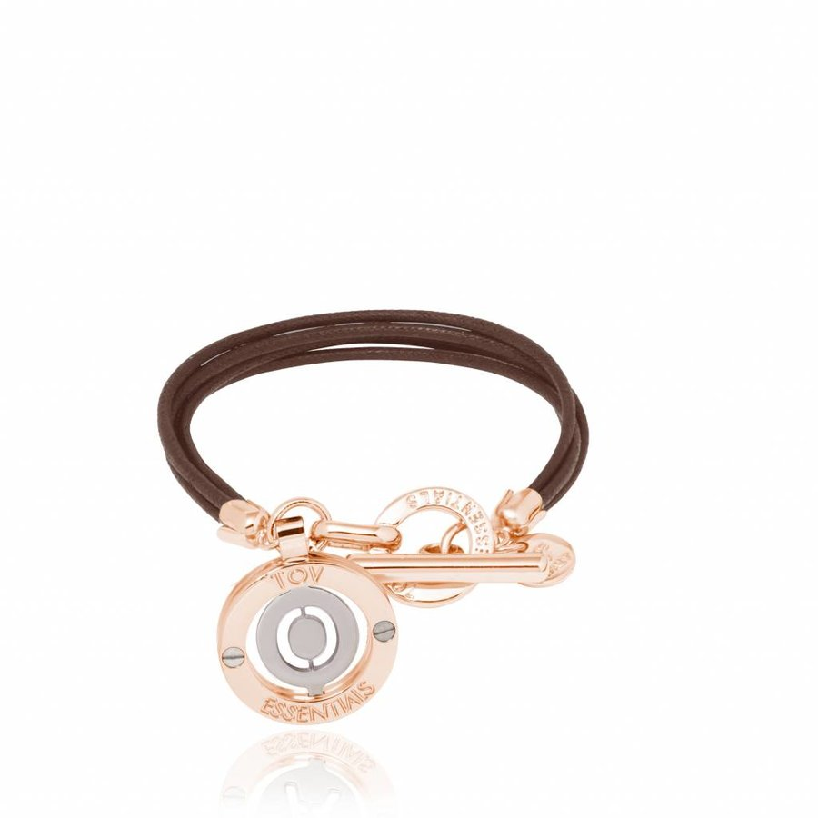 Cord bracelet with setting - Rose/ T morro